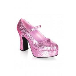 4 Inch Heel Single Strap Glitter Finish Mary Jane Shoe
