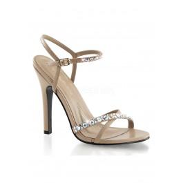 4 1/2 Inch Heel Open Toe Ankle Strap Sandal With Rhinestone Embellishments