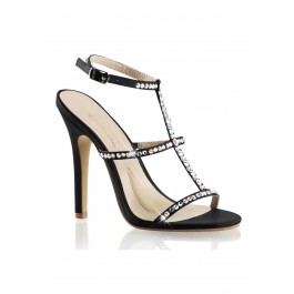 4 1/2 Inch Heel T-Strap Sling Back Sandal With Rhinestone