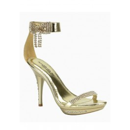 4 1/4 Inch Heel Rhinestone Imbedded Mini-Platform Ankle Strap Sandal