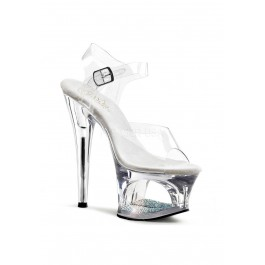 7 Inch Heel, 2 3/4 Inch Cut-Out PF Ankle Strap Sandal