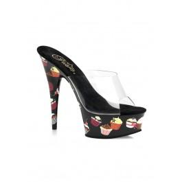 6 Inch Stiletto Heel Cupcake Print Platform Slide