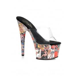 7 Inch Stiletto Heel Pin Up Girl Print Platform Slide