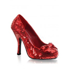 No Place Like Home Platform Sequin Bow Pump