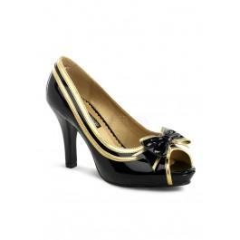 4 Inch Heel, 1 Inch Hidden Platform, Wide Width, Peep Toe Pump With Bow