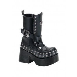 Women's 3 1/2 Chunky Heel Calf Boot With Criss Cross Straps And Rivet Trim