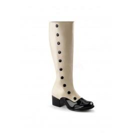 2 Inch Block Heel Two Tone Knee High Boot