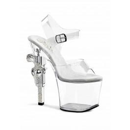 Women's 7 Inch Rhinestone Embellished Gun Heel, 3 1/4 Inch Platform Ankle Strap Sandal
