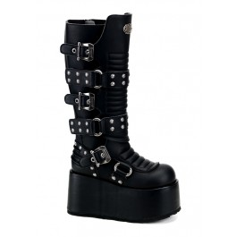 Men'S 4 Inch Platform Buckled Ribbed Knee Boot With Rivet Detail