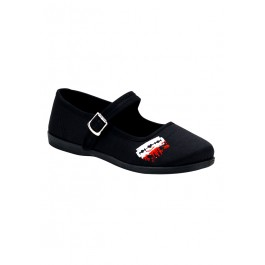Women's Mary Jane Flat With Embroidered Razor Blade