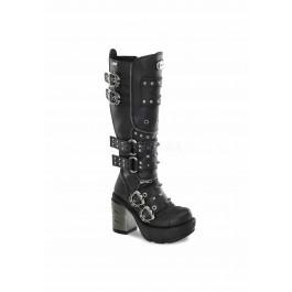 3 1/2 Inch Chromed ABS Heel, 1 1/2 Inch Moulded Pu Platform Knee Boot