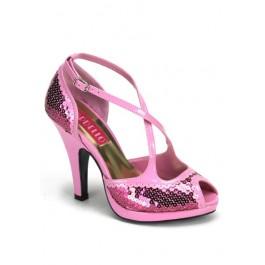 4 Inch Heel Criss Cross Peep Toe Sandal
