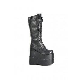 Demonia STACK-308, Men's 7 Inch Stacked Platform Knee Boot With Zig Zag Straps