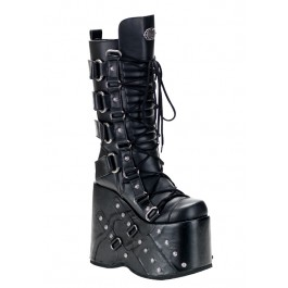 Men'S 7 Inch Platform Buckled Knee Boot With Rivet Detail