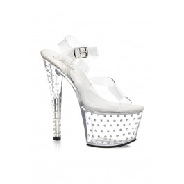 Pleaser STARDUST-709, 7 Inch Stiletto Heel Rhinestone Studded Clear Platform Sandal With Ankle Strap