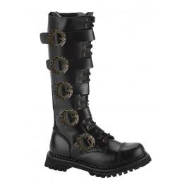 Demonia STEAM-20, Men's 20 Eyelet Buckled Steel Toe Calf Boot