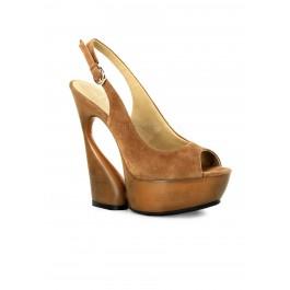 6 Inch Sculptured Heel, 1 3/4 Inch Platform Sling Back Sandal