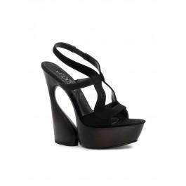 6 Inch Sculptured Heel, 1 3/4 Inch Platform Cutout Sling Back Sandal