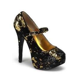 Bordello TEEZE-07SQ, 5 3/4 Inch Heel Maryjane With Concealed Platform And Sequins