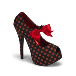 Bordello TEEZE-25, 5 3/4 Inch Heel Polka Dot Peep Toe Pump