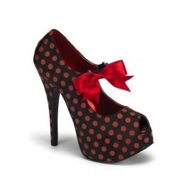 Bordello TEEZE-25, 5 3/4 Inch Heel Polka Dot Peep Toe Pump