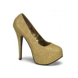 Bordello TEEZE-31G, 5 3/4 Inch Heel Glitter Pump With Detachable Shaft