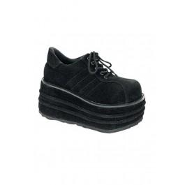 Demonia TEMPO-08, Men's 3 1/2 Inch Veggie Suede Platform Sneakers