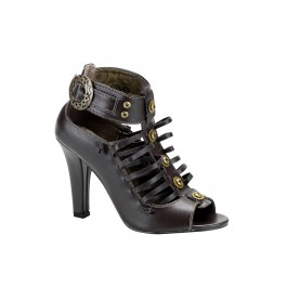 Women's 4 Inch Heel Strappy Steampunk Sandal With Gear Buckle And Button Detail