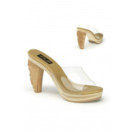 Pinup Couture TIKI-100, 4 Inch Carved Tiki Heel Platform Slide