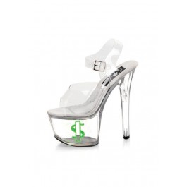 Pleaser TIPJAR 708-8 6 3/4 Inch Clear Platform Sandal With Dollar Sign Print And Tip Jar Feature