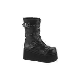 Men'S 3 1/4 Inch Platform Calf Boot With Wrap Around Straps