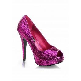 Women's 5 1/4 Inch Heel, 1 Inch Platform Glitter Peep Toe Pump