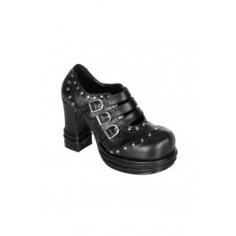 Women's 4 Inch Heel Buckled Multi-Strap Studded Shoe
