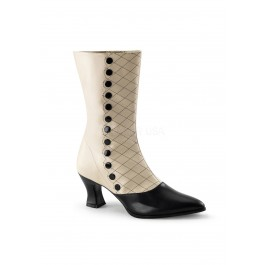 2 3/4 Inch Kitten Heel Two Tone Mid-Calf Boot