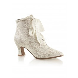 2 3/4 Inch Flaired Heel Lace Up Ankle Bootie With Lace Overlay