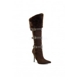 4 1/4 Inch Heel, Buckle Strap Embellished Knee High Boot
