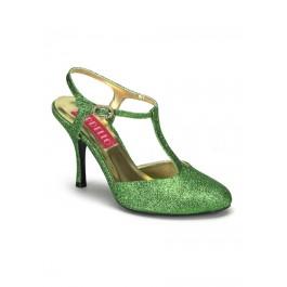 Women's 3 1/2 Inch Heel Closed Toe T-Strap Glitter Sandal