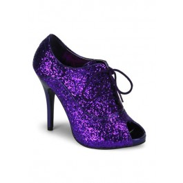 Women's 4 3/4 Inch Heel Glitter Peep Toe Lace-Up Bootie