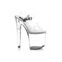 Women's 8 Inch Heel Clear Platform Sandal With Ankle Strap