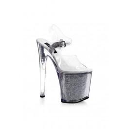Women's 8 Inch Heel Glitter Filled Platform Sandal With Ankle Strap