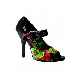 Women's 4 1/2 Inch Heel Peep Toe Mary Jane With Demonia Zombie Horror Collage Print