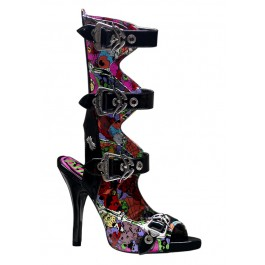 Women's 4 1/2 Inch Heel Buckled Knee High Sandal With Creepy Eyeballs Print