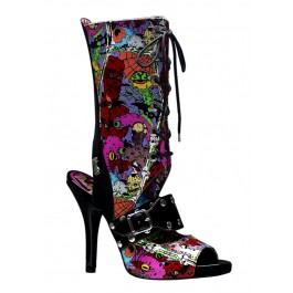 Women's 4 1/2 Inch Heel Lace Up Knee High Sandal With Creepy Eyeballs Print