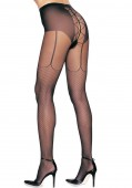 Sheer Pantyhose With Mock Lace Up Garter Belt