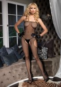 Fishnet Crotchless Suspenders Bodystocking