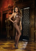 Madeira, Seamless Halter Fishnet Open Crotch Bodystocking