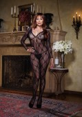 Bordeaux, Plus Size Bow Lace Long Sleeved Open Crotch Bodystocking
