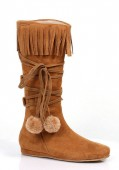 1 Inch Heel Boot With Fringe And Poms Childrens.
