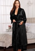 Long Satin Robe With Lace Trim Cuffs And Matching Sash