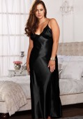 Long Lace Trimmed Satin Gown